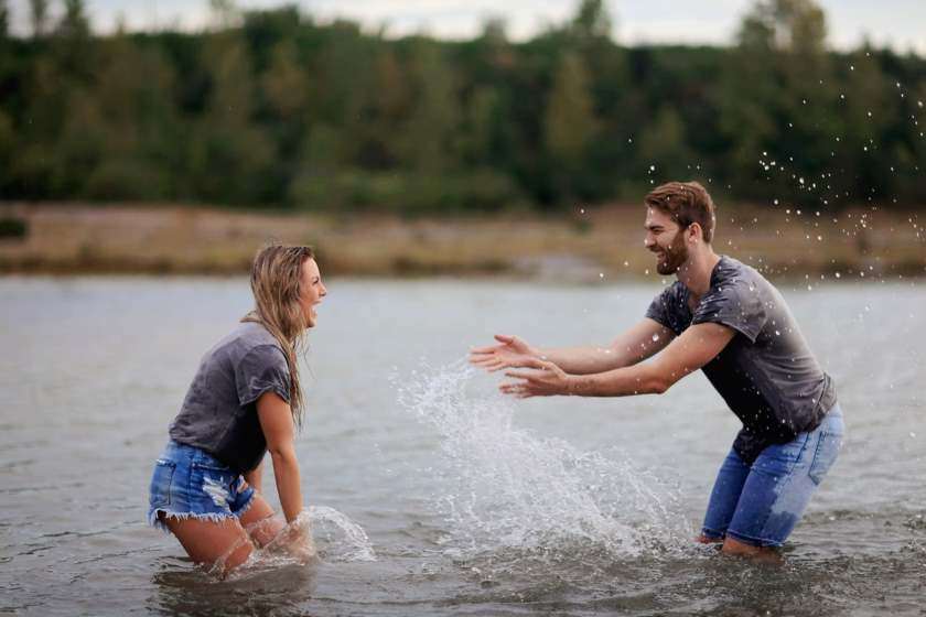 Cool Girlfriend Splashing Water