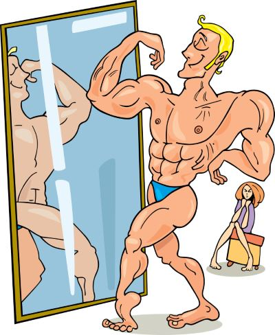 Ego Guy Checking Himself In Mirror