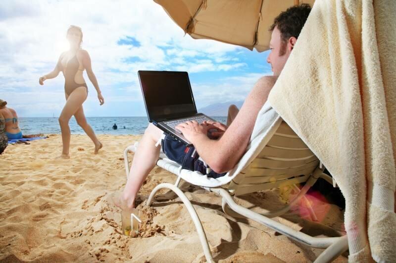 Guy Look Woman Walking Beach Bikini