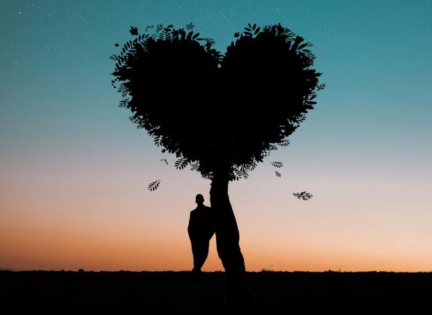 Man Fall Love Stand By Tree