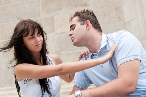 Woman Frustrated Men Try Kiss Her